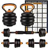 Amazon Brand – Umi Juego de Mancuernas Kettlebell y Barra de musculación con Disco 20 kg Cada...